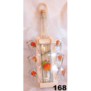 Fľaša 350ml stojan poháre ovocie