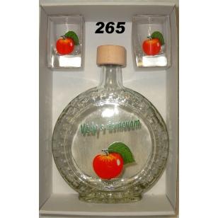 Fľaša slivovica 2ks pohárov ovocný motív
