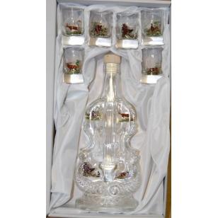 Fľaša Violino s pohármi poľovnícky motív