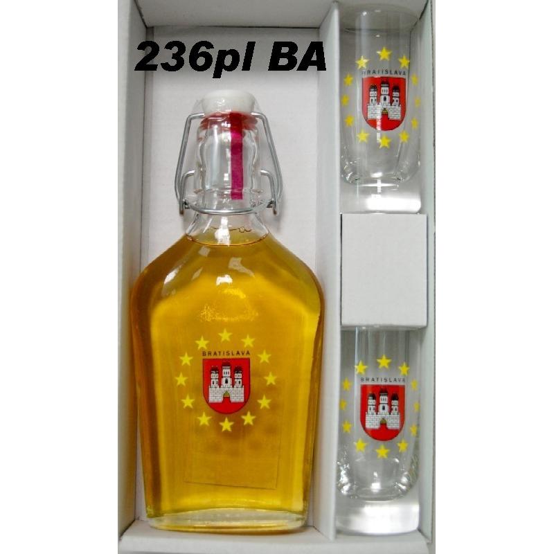 Ploskačka plnená 2 ks pohárov s logom Bratislava