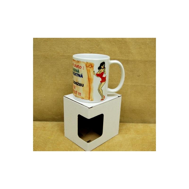 Darčekový hrnček s krabičkou žena ako auto