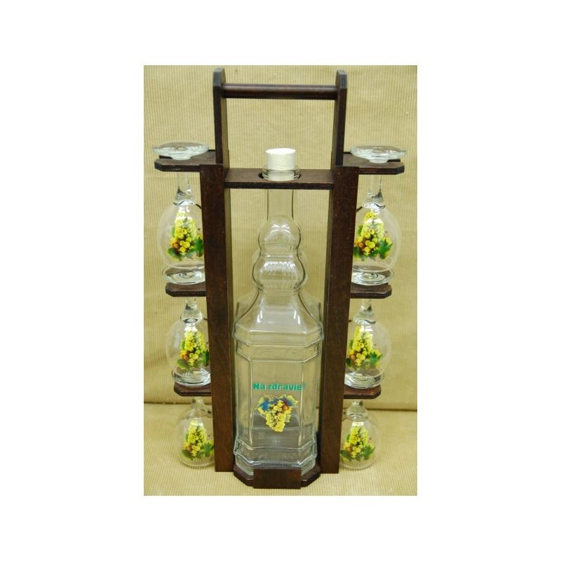 Fľaša 2L stojan poháre hrozno