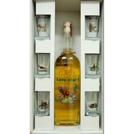 Fľaša s medovinou 6 pohárov