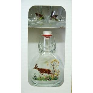 Fľaša s 2 ks topánočiek poľovnícky motív