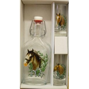 Ploskačka+2ks pohárov kone