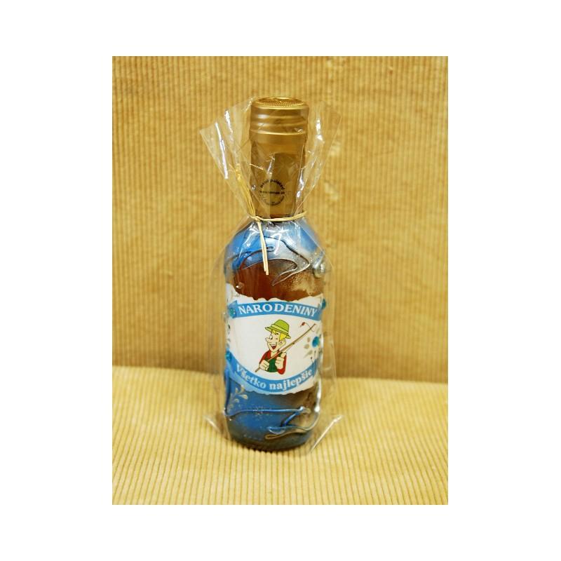 Zdobená fľaša 2dl medovina Rybárska