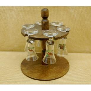 Súprava pohárov na stojane poľovnícka