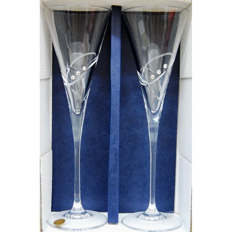 Svadobné krištáľové poháre 180 ml swarovské kamene