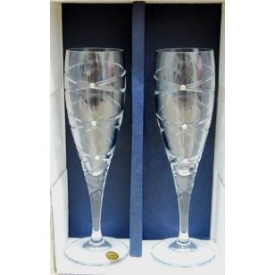 Svadobné krištáľové poháre 220 ml swarovské kamene