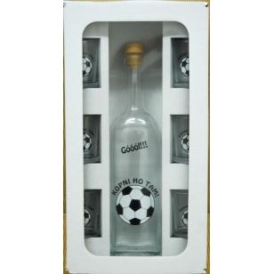 Fľaša s pohármi futbal