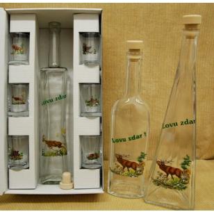 Fľaša s pohármi poľ motív