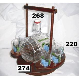 Súprava súdok 5dl  s pohármi ovocie