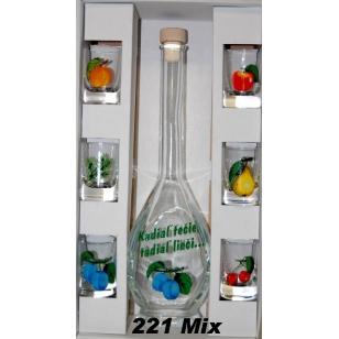 Fľaša s pohármi ovocie mix