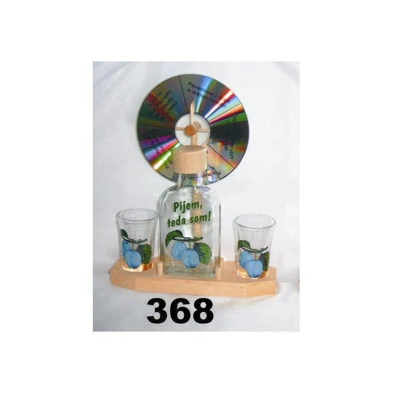 Fľaša 2ks pohárov koleso ovocie