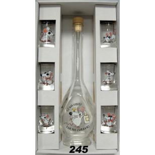 Fľaša s pohármi myši