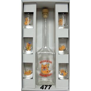 Fľaša s pohármi prasiatka