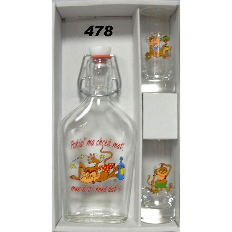 Ploskačka+2ks pohárov opice