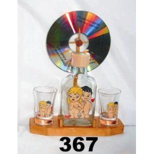 Fľaša+2ks pohárov koleso humor