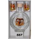 Fľaša a 2 ks pohárov poľovnícky motív hlavy