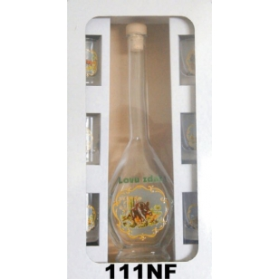 Flaša s pohármi poľovnícky motív reliéf