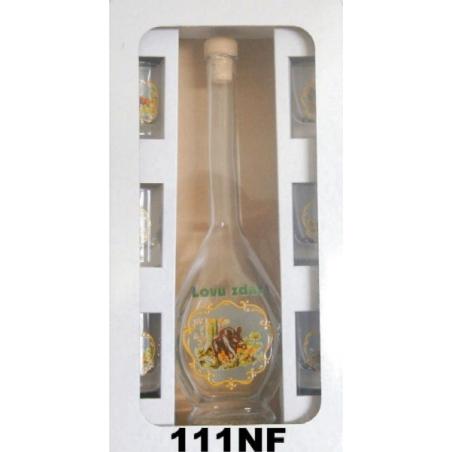 Flaša s pohármi reliéf