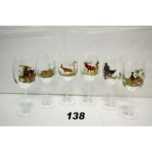 Poháre na víno 250 ml poľovnícky motív