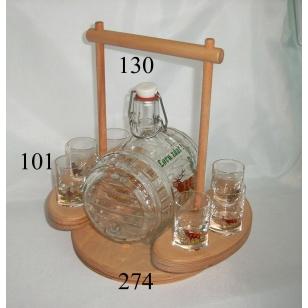 Súprava súdok 5 dl s pohármi poľ motív