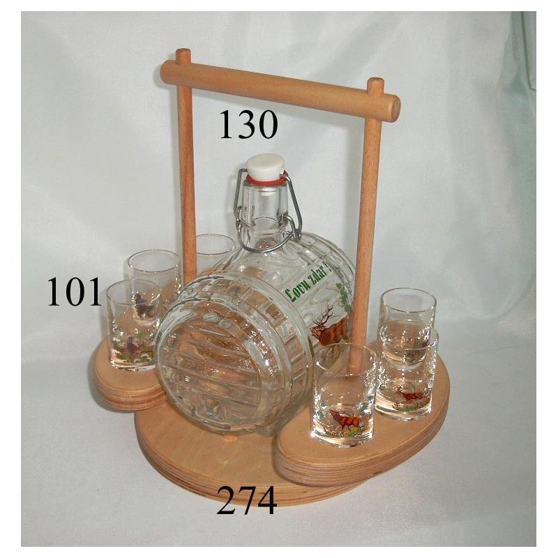 Súprava súdok 0,5 L s pohármi poľovnícky motív