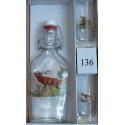 Fľaša a 2 ks pohárov poľovnícky motív