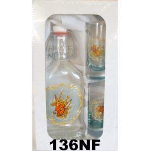 Fľaša 2 dl a 2ks pohárov poľovnícky motív reliéf