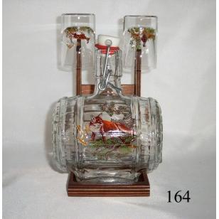 Súdok 0,5 L v stojane 2ks pohárov poľovnícky motív