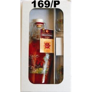 Fľaša s medovinou 2ks pohárov poľovnícky motív