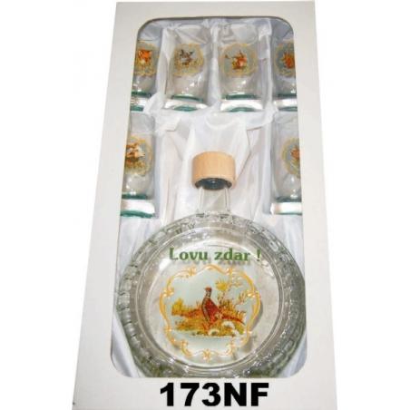 Flaša slivovica 5dl 6pohárov poľ motív reliéf