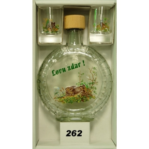 Fľaša slivovica 2ks pohárov poľovnícky motív