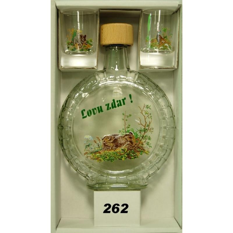 Fľaša slivovica350ml 2kspohárov poľ motív