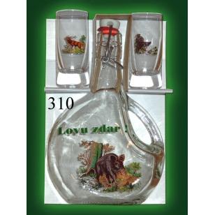 Fľaša 5dl a 2 ks pohárov poľovnícky motív