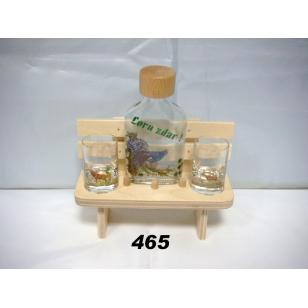 Lavička s fľašou poháre poľovnícky motív