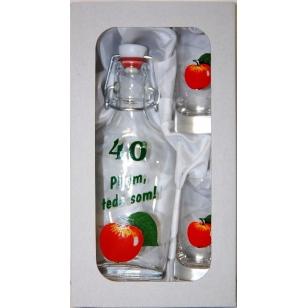 Fľaša výročie s 2 ks pohárov ovocie