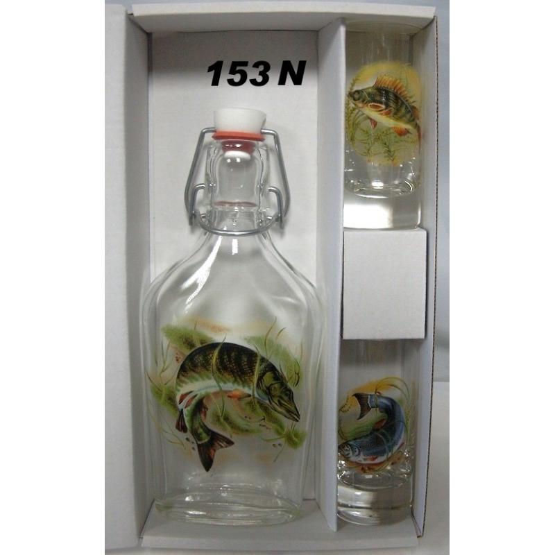 Fľaša a 2 ks pohárov ryby