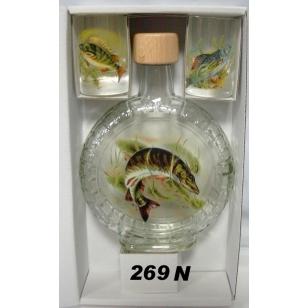 Fľaša slivovica 2ks pohárov ryby